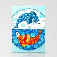 pisces Stationery Cards featuring Pisces by Sandra Nascimento