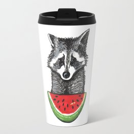 Racoon and watermelon Travel Mug