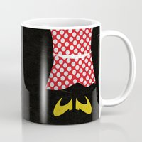 minnie mouse Mugs featuring minnie mouse minimal grunge... by studiomarshallarts