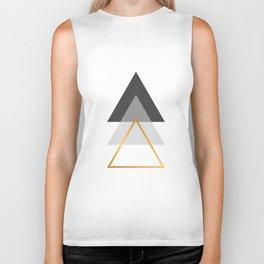 Triangles art, Black, white and gold Biker Tank