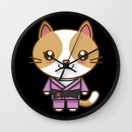 Kawaii Cat in BJJ Uniform - Jiu Jitsu Fighter Wall Clock