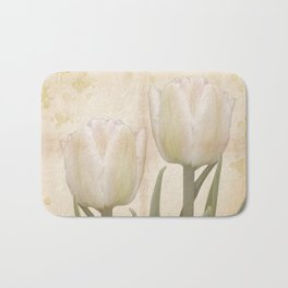 Painterly tulips with golden water splashes, vintage look Bath Mat