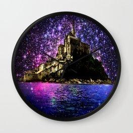 Enchanted castle Island Pink Purple Wall Clock