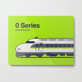 0 Series Shinkansen Green Side Profile Metal Print