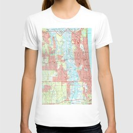 Jacksonville Beach and Atlantic Beach Florida Map T-shirt