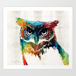 Colorful Owl Art - Wise Guy - By Sharon Cummings Art Print