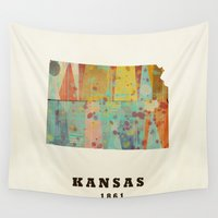 kansas Wall Tapestries featuring Kansas state map modern by bri.buckley