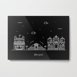Bhopal Minimalist Skyline Drawing Metal Print