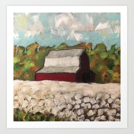 Red Barn in a Cotton Field Art Print