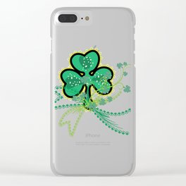 Shamrock Flourish Saint Patrick's Day Lucky Symbol Vector Clear iPhone Case