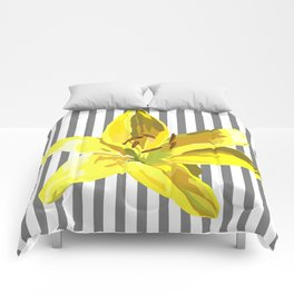 yellow and grey stripes Comforters
