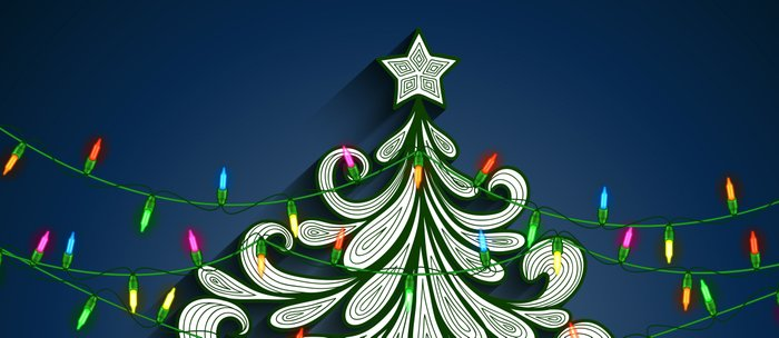 Christmas tree with colorful lights Coffee Mug