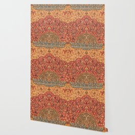 Flowery Vines III // 16th Century Contemporary Red Blue Yellow Colorful Ornate Accent Rug Pattern Wallpaper