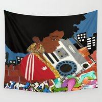hiphop Wall Tapestries featuring Old school Afro by instagram.com/TheDCArtiste
