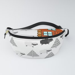 Winter cabin with sheep Fanny Pack