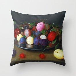 Still Life of Summer Plums on a Plate by Jacob van Hulsdonck Throw Pillow