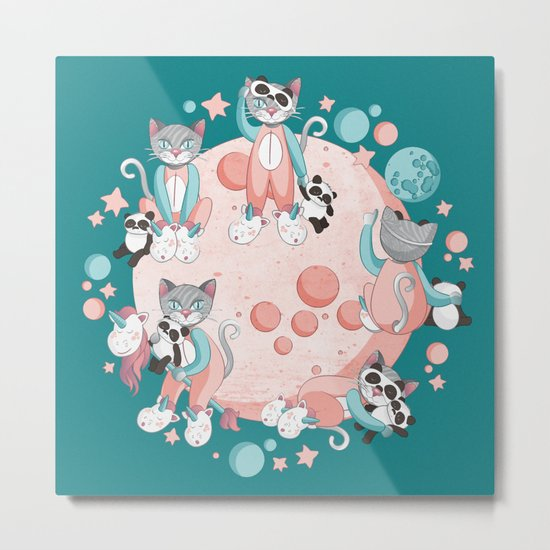 Cats, pandas and unicorns I Metal Print