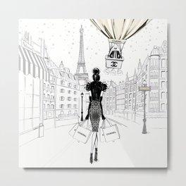 Karl and His Hot Air Baloon Fashion Illustration Metal Print