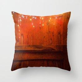 Lights and old barn wood Throw Pillow