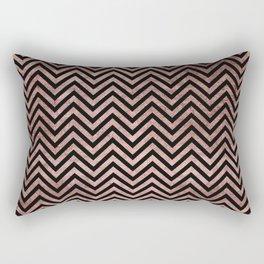 Black faux rose gold geometrical chevron Rectangular Pillow