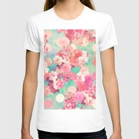 preppy T-shirts featuring Romantic Pink Retro Floral Pattern Teal Polka Dots  by Girly Trend
