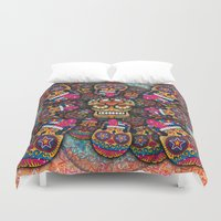 sugar skulls Duvet Covers featuring Crazy Sugar Skulls by Spooky Dooky