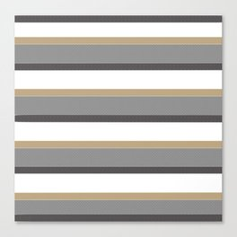 Grey And Gold Stripes with White Canvas Print