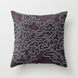Floral embossing - plum Throw Pillow