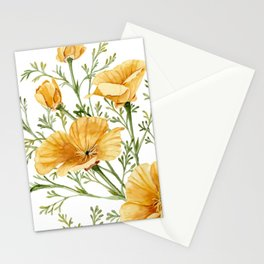 California Poppies - Watercolor Painting Stationery Cards