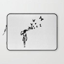 Banksy - Girl Shooting Her Head With Butterfly Design, Streetart Street Art, Grafitti, Artwork, Desi Laptop Sleeve