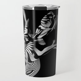 0465s-MM Black White Striped Art Nude Kneeling Woman Arched Back Bliss Travel Mug