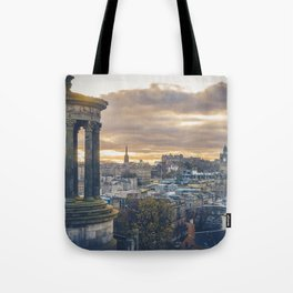 Edinburgh city and castle from Calton hill and Stewart monument Tote Bag
