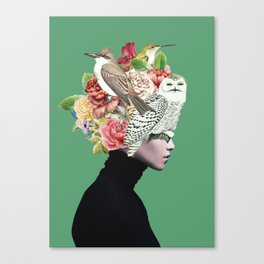 Lady with Birds(portrait) 2 Canvas Print