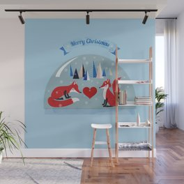 Christmas foxes in love Wall Mural