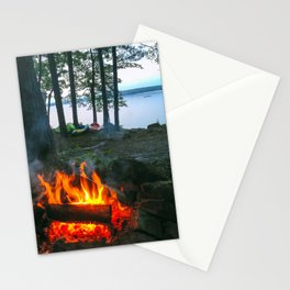 Campfire and Kayaks on Lake Pemaquid in Damariscotta, Maine Stationery Cards