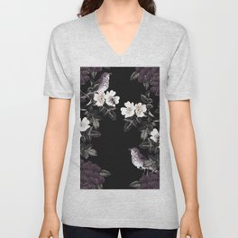 Blackberry Spring Garden Night - Birds and Bees on Black Unisex V-Neck