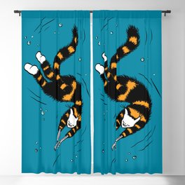 Weird Cat With Bone Hands Swimming Happily Blackout Curtain