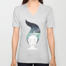 Dreaming about traveling the world Unisex V-Neck