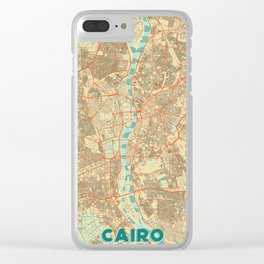 Cairo Map Retro Clear iPhone Case