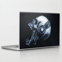 headphones Laptop & iPad Skins featuring Skull & Headphones by Courtney Averett