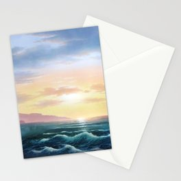 Abstract sunset nautical blue waves landscape Stationery Cards