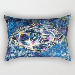 Blue crystal, acrylic painting Rectangular Pillow