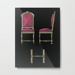 Design of an antique burgundy chair. Metal Print