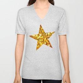 Glittering Golden Stars Unisex V-Neck