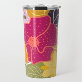 Modern big floral composition illustration pink yellow purple greens flowers Travel Mug