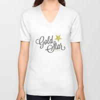 lesbian V-neck T-shirts featuring Gold Star Lesbian by ElekTwick