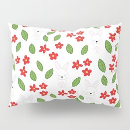 Cute rabbits and flowers Pillow Sham