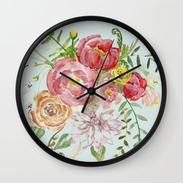 Bouquet of Spring Flowers Light Aqua Wall Clock