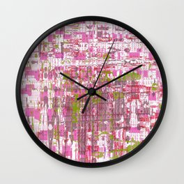 Glassy effects on pink, green and white texture Wall Clock