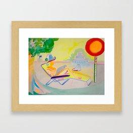 Relaxing in the Chaise, Birthday Cake, Sunshine, Newspaper Framed Art Print